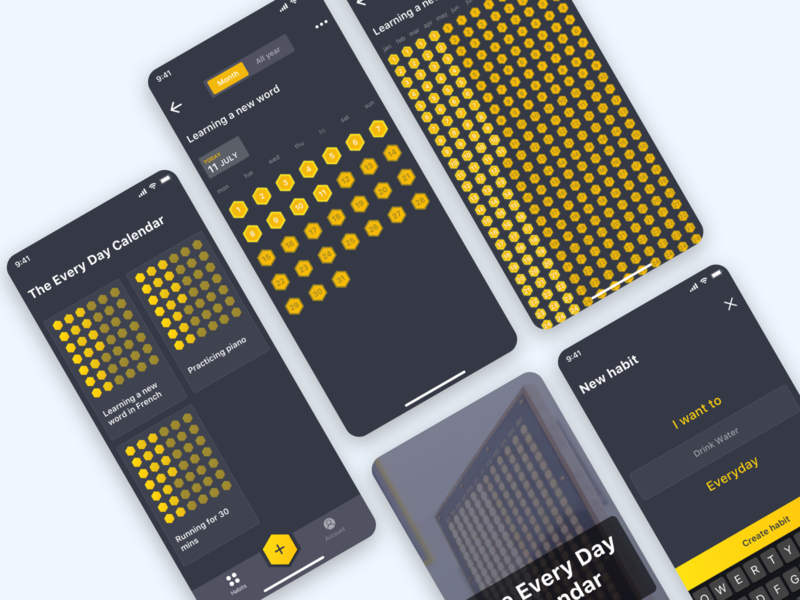 The Everyday Calendar everyday habit tracker habits profile card design daily calendar home ux design ios app