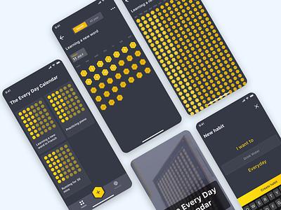 The Everyday Calendar everyday habit tracker habits profile card design daily calendar home ux design ios app