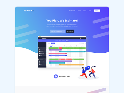 Landing page v2 of hudhud.io landing page time tracker productivity calendar gradient flat redesign colors ux ui design