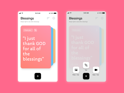 Blessings app list create new text create quote home discover colors ux ui ios design app
