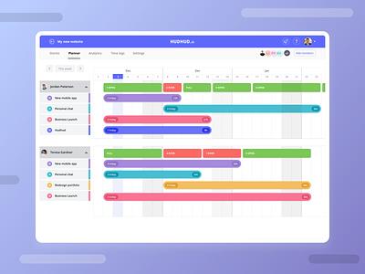 Planner page - Project management app planner team work schedule time calendar project management ux