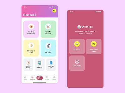 Childhood iOS app add more memories icons grid discover colors children child ux ui app design ios