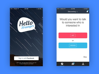 Login and Discover Screens of Hello Stranger App