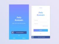 Welcome/Login screens of Reminder App