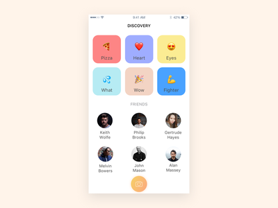Discovery screen flat wow heart colors camera icons apple emoji discover