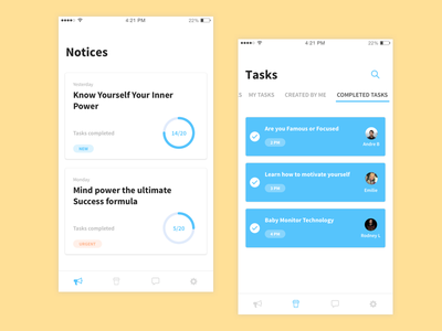Notices and Tasks app user interface user experience ios interface colors white progress shadows cards flat ios app tasks