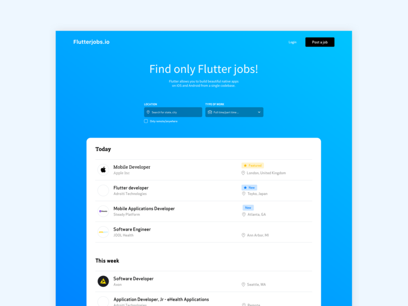 Flutterjobs.io - Job board 2020 google flutter work job listing job board design