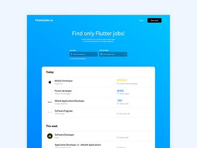 Flutterjobs.io - Job board 2020 google flutter work job listing job board design