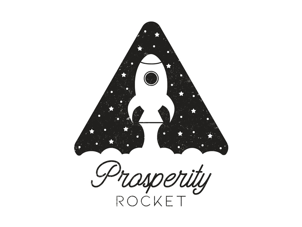 Prosperity Rocket Logo Design vintage retro branding vector logo design illustration