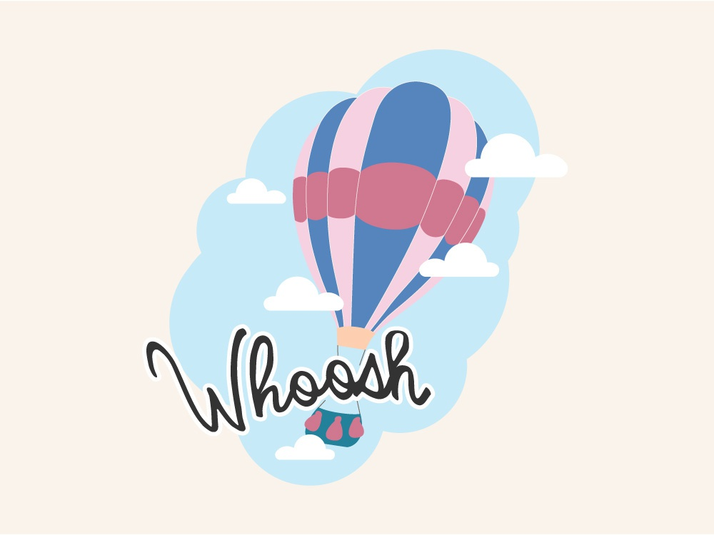 Whoosh - Hot Air Balloon Travel Logo balloon pastel candy vector illustration logo design