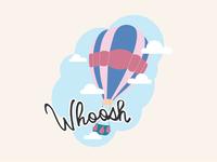 Whoosh - Hot Air Balloon Travel Logo