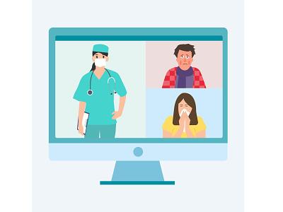 Doctor online illustration flat vector web design