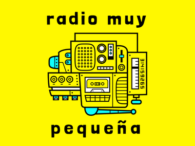 Radio Muy Pequeña podcast logo analog mixtape buttons bright colors machinery boombox radio podcast vector branding logo illustration design