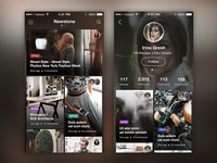 Newstone Application. Main and Profile screens.