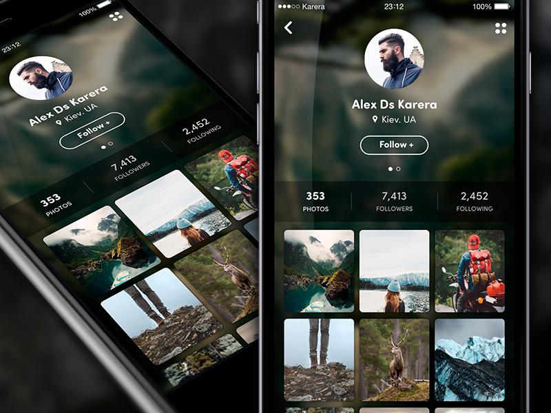 User Profile app ui ux profile photos avatar ios8 social user travel osmium iphone app