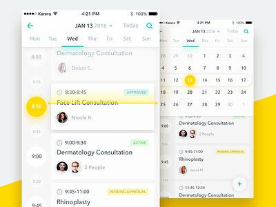 Medical App. Planning week schedule list jobs calendar mobile ios clean health app ux ui