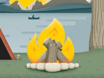 Campsite Illustration mountains grunge canoe water tent tree logs flame bonfire campfire fire camping camp lake design fishing illustration vector