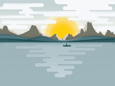 Lake Scene Backdrop grunge lake landscape blue texture layer adventure camping silhouette hills waves outdoor mountains clouds sunset design vector illustration fishing canoe