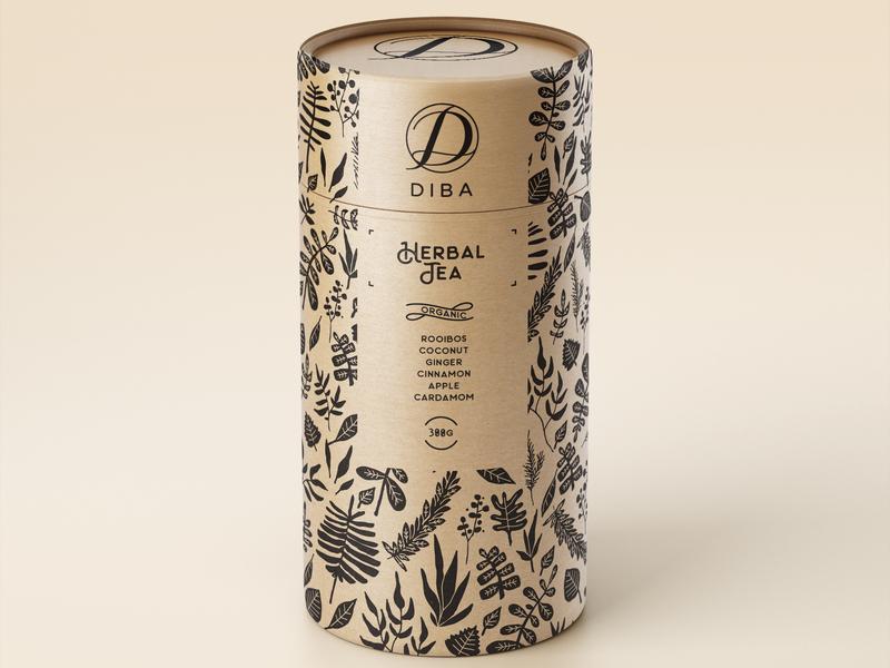 Diba herbal tea packaging design pattern design botanical illustration tea packaging
