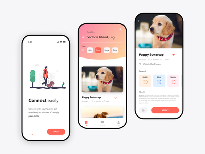 Find - A - Pet mobile animal adopt pet user interface design ux ui user experience product design design figma app