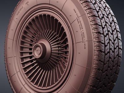 Bolt On Wheels car corvette wheel 3d render cg cgi awesome denbrooks tire clay stingray