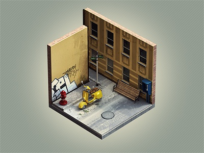 "Corners ""Street"" isometric corners corner street cube vespa mini brooks"