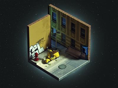 "Corners ""Street night"" isometric brooks corner corners cube mini street vespa night stars"