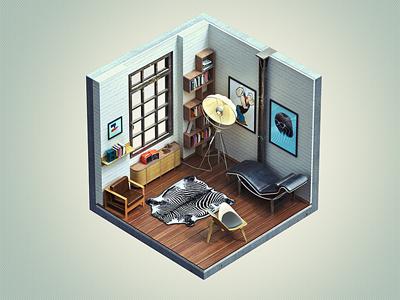 "Corners ""NY Loft"" isometric brooks corner corners cube mini ny loft furniture"
