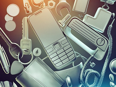 """H"" Project brooks light phone stuff keys money mouse pen tools"
