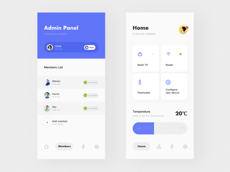 Smart Home App app ux icon ui design