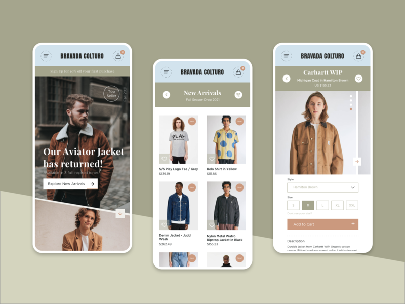 Bravada Coltura E-Commerce concept clean design fashion ecommerce flat minimal web typography ui mobile app