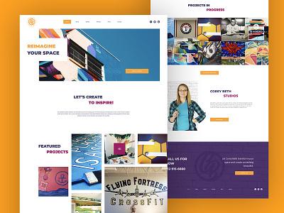 Corey Beth Studios page landing muralist colorful mobile web design webdesign website artist