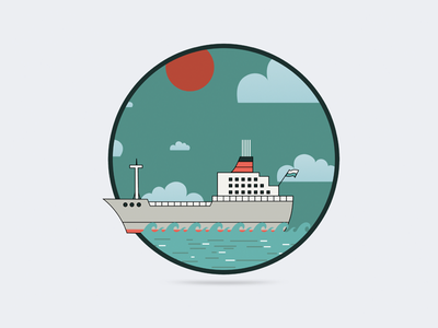 Ahoy steamer blue sky sea marine boat ship
