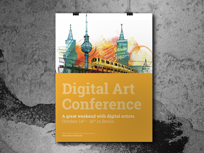 Conference Poster digital art berlin yellow conference poster