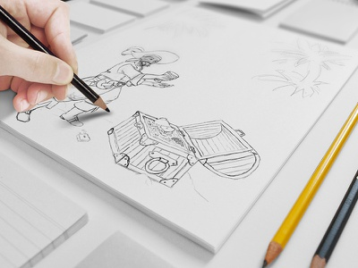 Sketch of a Pirate and his Treasure digital paper drawing concept pencil sketch treasure pirate