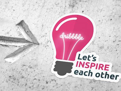 Let's inspire each other! arrow concrete inspire bulb light light bulb sticker mule mule sticker inspiration dribbble