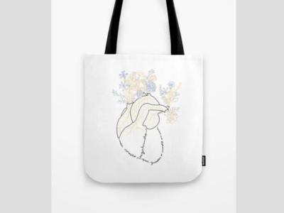 Vagabond Heart Tote Bag blackandwhite line art illustration tote bag heart