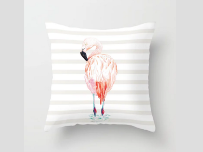 Flamingo Throw Pillow tropical throw pillow botanical digital art brasil flamingo illustration