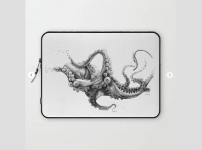 BLACK INK Laptop Sleeve line art draw black  white octopus illustration