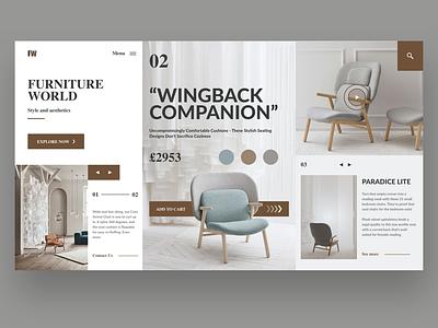 Furniture Website website branding vector clean typography design ui ux furniture furniture app landingpage web app