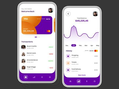 Online Banking App illustrator illustration ux designers popular design minimalist clean ui uidesign finance app bank app bank ui app design