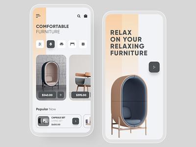 Furniture app Concept flat typography clean illustration web ux illustrator ui design app