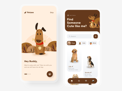 Pet Adoption App 2 ux cute trends icons illustrations graphic proposal learn download free populsr minimal pet care clean uidesign uiux ui adoption pet