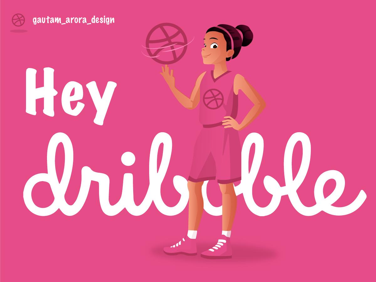 Hey Dribble clean vector illustrator dribbble invite dribbble typography illustration design