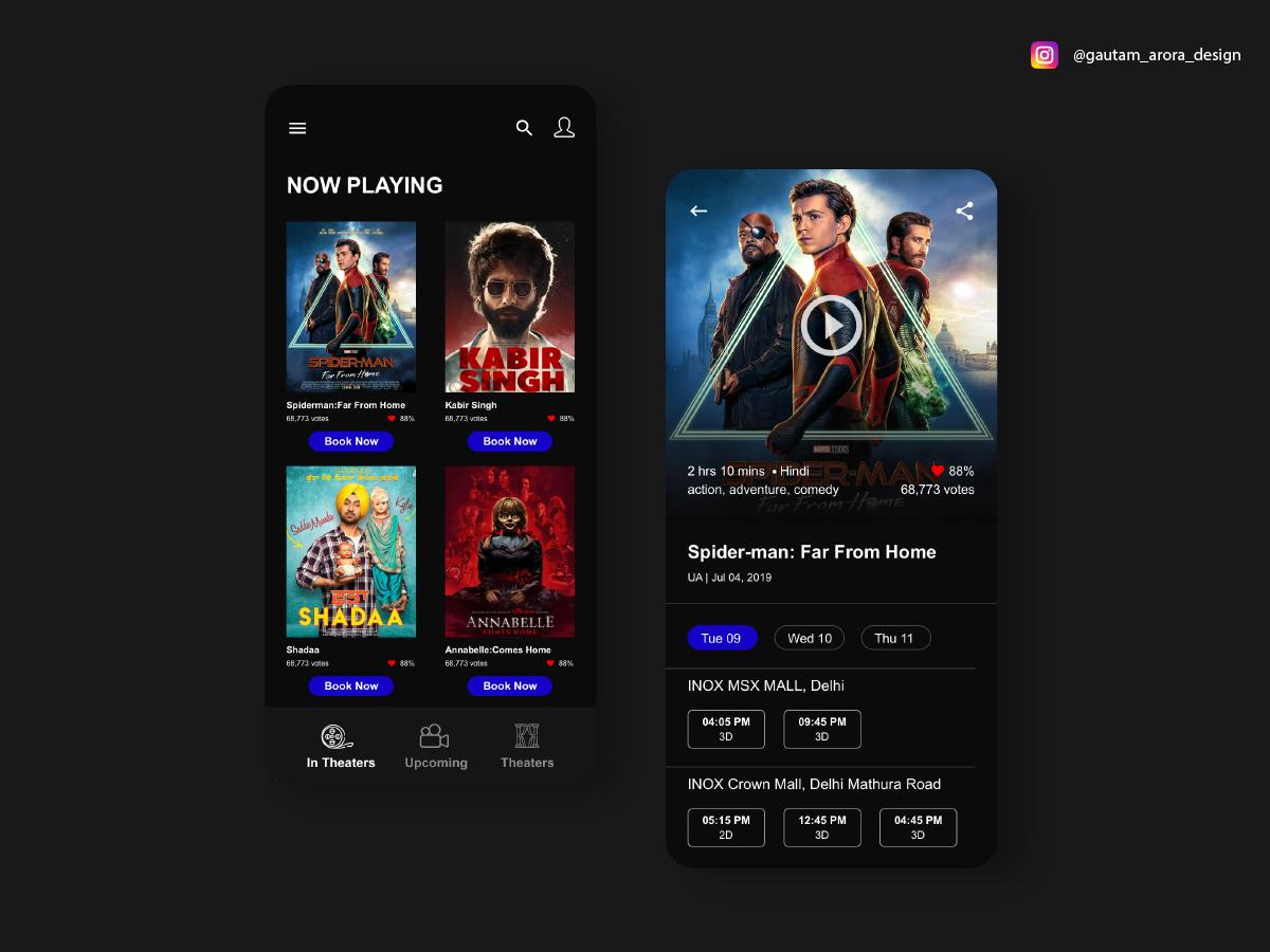 Movie ticket app concept web ux app illustration design ui