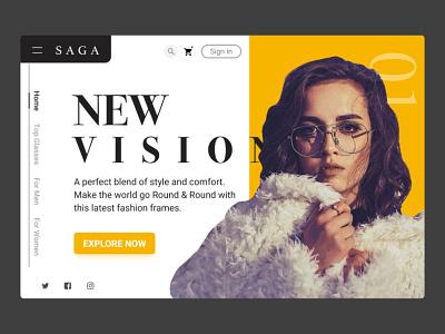 Glasses website minimal dribbble website branding modern glasses typography illustrator web ui design app