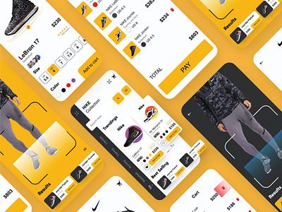 NIke App Repost ux audience followers likes motion animation illustrator graphic freelancer app design trending dark minimal clean android landingpage brand shoes app mockup