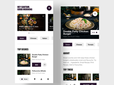 Restaurant App minimal food app restaurant ui animation dribbble clean typography design branding illustration illustrator app