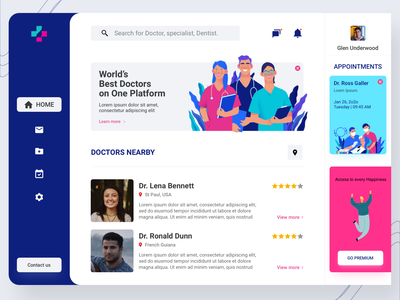 Doctor Dashboard Concept app android web instagram follow like hero minimal project freelance free uikit document clean ux ui dashboard design dashboard ui dashboad doctor