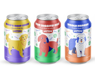 Hop Dog Beers ipa hops beer art visual identity dog illustration dogs ale beer label can label beer cans beer can brewery vector brand identity logo illustration design branding cheee typography